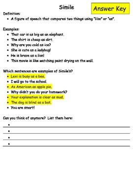 Figurative Language Packet with Answer Key