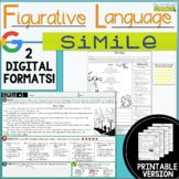 Figurative Language Passages: Similes- 2 Digital and 2 Pri