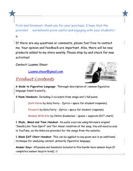 Figurative Language Poem and Song Lyric Analysis- Style, Tone and Mood