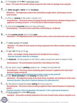 Figurative Language Poetic Devices Techniques Practice