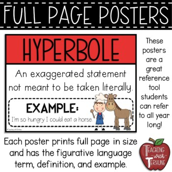 Figurative Language Posters {23 Terms with Definition and Example}