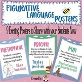 Figurative Language Metaphor Simile Alliteration Idiom and More Posters