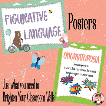 Figurative Language Metaphor Simile Alliteration Idiom and More Posters