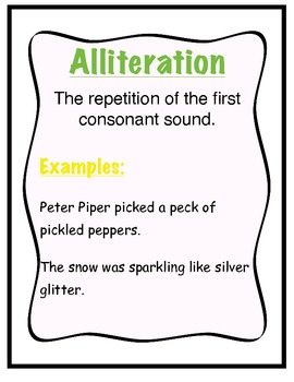 Figurative Language Posters: Alliteration Simile Personification Idiom Hyperbole