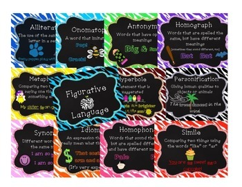 Figurative Language Posters - Colorful Zebra Print with pictures