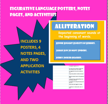 Figurative Language Posters, Notes Pages, and Activites