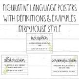 Figurative Language Posters / Shiplap / Greenery / Rustic / Farmhouse Decor