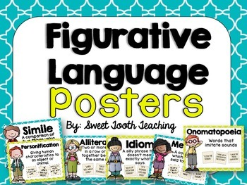 Figurative Language Posters- Teal & Yellow
