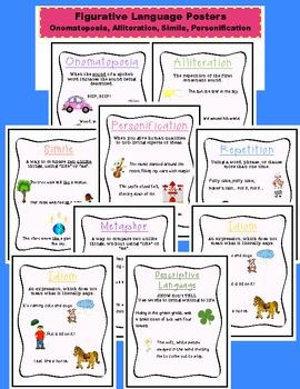 Figurative Language Posters WITH Images: Idiom, Simile, Alliteration, Hyperbole