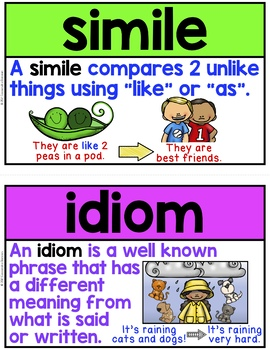 Figurative Language Posters, Word Wall or Flashcards ~ 20 Vocabulary Terms