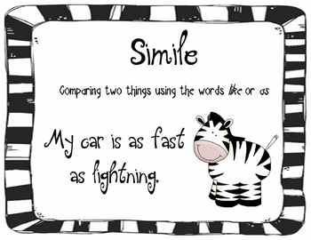 Figurative Language Posters - Zebra Theme