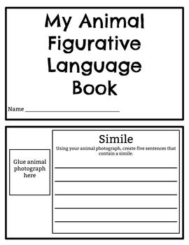 Figurative Language Printable Book for Learning Centers Animal Photographs