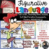 Figurative Language Posters, Task Cards, Quizzes, and Answer Keys