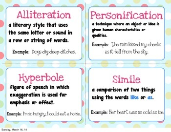 "Figurative Language Posters and Teacher ""cheat cards"" Set of 8"