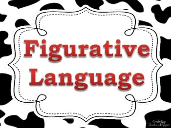Figurative Language Posters for the Classroom: Cow Print