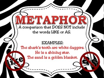 Figurative Language Posters for the Classroom: Zebra Theme