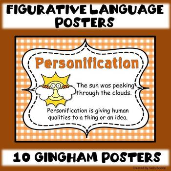 Figurative Language Posters with a Gingham Background