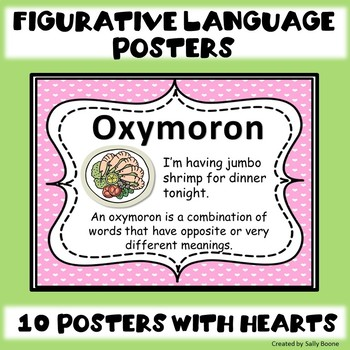 Figurative Language Posters with a Heart Background