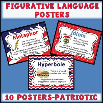 Figurative Language Posters with a Patriotic Background