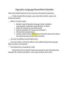 Figurative Language PowerPoint Activity