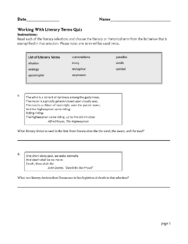 Figurative Language PowerPoint Concentration Game with Quiz Worksheet