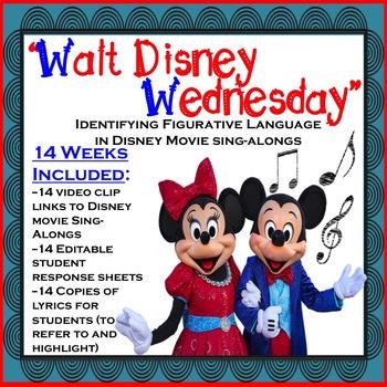 "Figurative Language Practice ""Walt Disney Wednesday"" Disney Sing-Along Songs"