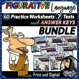 Figurative Language Worksheets, Tests, Keys BUNDLE (PDF and GOOGLE SLIDES)