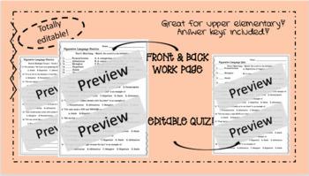 Figurative Language Practice and Quiz - Totally Editable!
