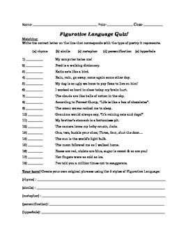 Figurative Language Pre/Post Quiz
