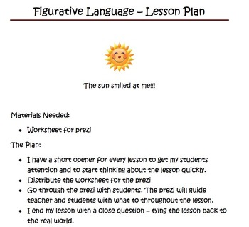 Figurative Language lesson with Prezi and worksheet grades 5-9