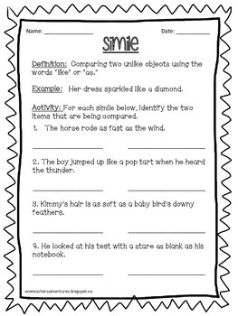 Figurative Language Print-and-Go Practice Sheets