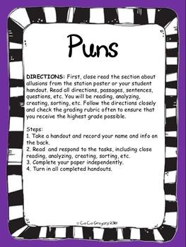 Figurative Language Puns Poster and Lesson Station Task Set
