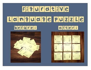 Figurative Language Puzzle (similes, metaphors, hyperboles, & personification)