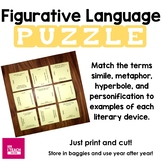 Figurative Language Puzzle (similes, metaphors, hyperboles