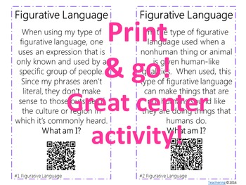 Figurative Language Task Cards with QR Codes {Differentiated}