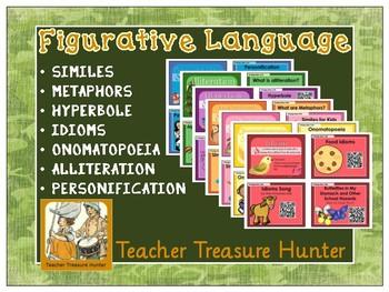 Figurative Language QR codes - video, book, definition Metaphor Simile hyperbole