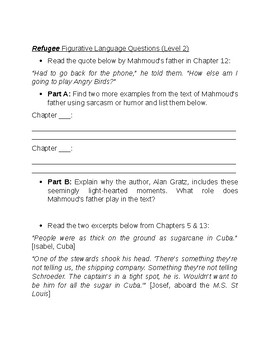 """Figurative Language Questions for the novel """"Refugee"""" by Alan Gratz"""