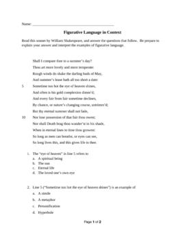 Figurative Language: Questions on a Sonnet