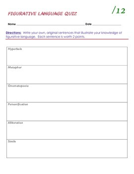 Figurative Language Quiz (12 points) pdf