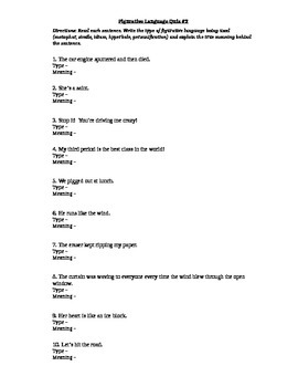 Figurative Language Quiz #2