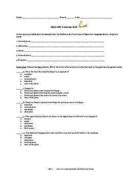 Figurative Language Quiz with Answer Key