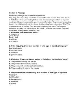 Figurative Language Quiz  - Matching, Multiple Choice, Reading Comprehension