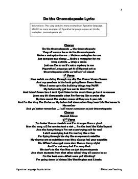 Figurative Language Rap Activities (Do the Onomatopoeia)