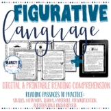 Figurative Language Reading comprehension passages with questions 4th & 5th
