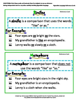 Figurative Language Reference Cards