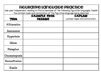 Figurative Language Reference and Practice