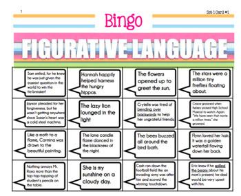 Figurative Language Review Game Bingo