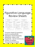 Figurative Language Review Sheets
