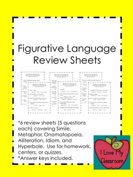 Figurative Language Review Sheets