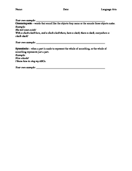Figurative Language Review Worksheet Grade 5/6 Language Arts